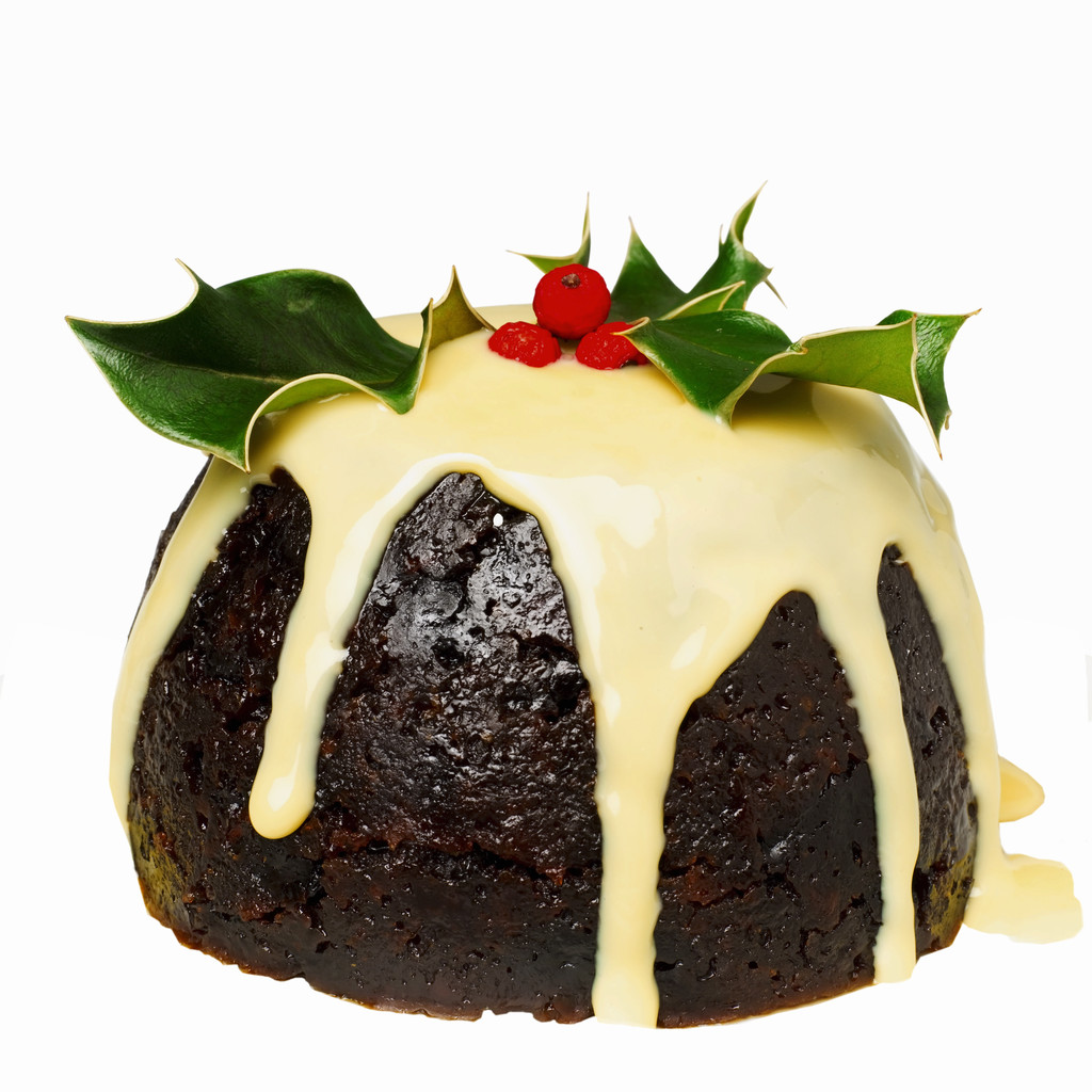 christmas pudding with custard